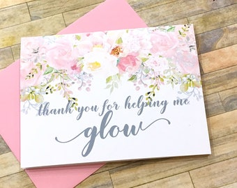 makeup artist card - thank you for helping me glow - cosmotologist hair stylist tip card - wedding day thank you card from bride groom
