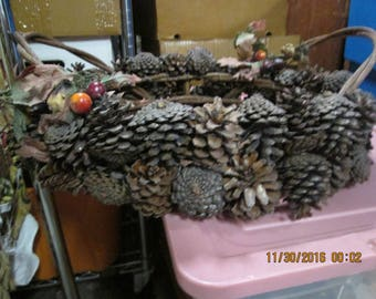 Pine cone basket with handles handmade 1970's