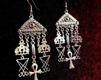 Luciferian Ankh Cluster Earrings - occult goth gothic sigil of lucifer earring left hand path victorian