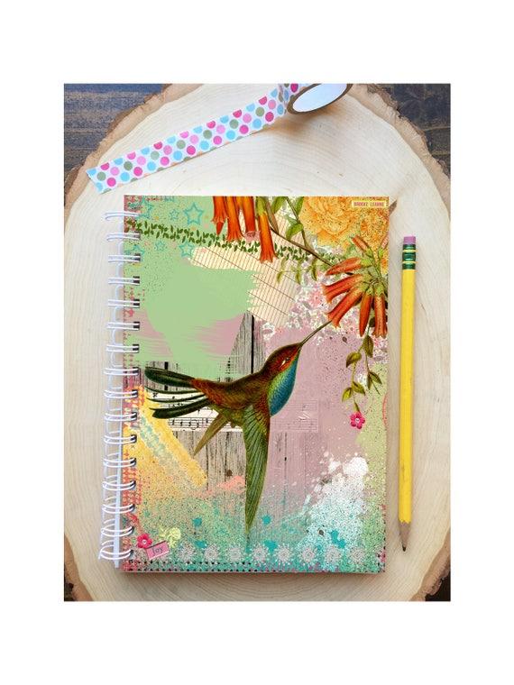 Hummingbird Spiral Bound Notebook - Bird Notebook - Bird Diary - Hard Notebook - Spiral Journal - Back to School - Gift - Journal