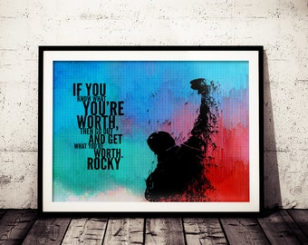Rocky Inspirational Quote Fan Art Poster, Original Rocky Painting Print, Motivation Rocky Poster, Rocky Wall Decor, Rocky Balboa Art Print