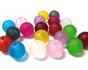 20 frosted glass beads 12mm mix color (N-42)