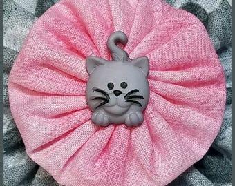 Yo-Yo Kitty Cat Hair Bow / Flower / Clip / Yo Yo Fabric & Button