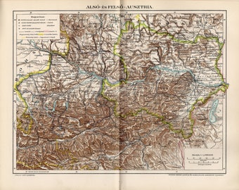 Antique map of upper and lower Austria from 1893