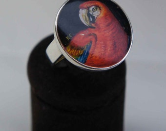 Hand painted parrot ring