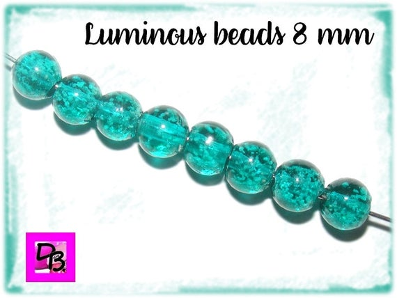 10 perles Luminous [DarkTurquoise] 8mm