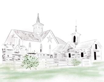 Wedding Venue Sketch, Painted Wedding Venue, Venue Drawing, Venue Wedding Invitation