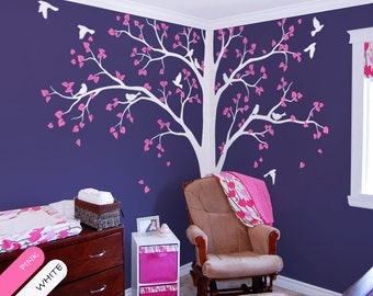 Large White tree decal Corner Tree wall decal Stickers Huge Wall Decals Wall Art Tattoo Wall Mural Decor - 086 & Tree Wall Decal Full Corner Tree decal Nursery Wall Decoration