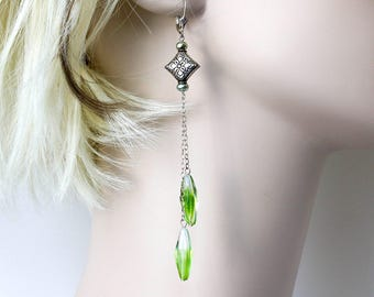 Long Green Sterling Silver Earrings  Green Shoulder Duster  Spring Green Long Dangle Earrings