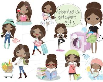 African American girl Clip art Black Girl clipart set 3 , instant download PNG file - 300 dpi