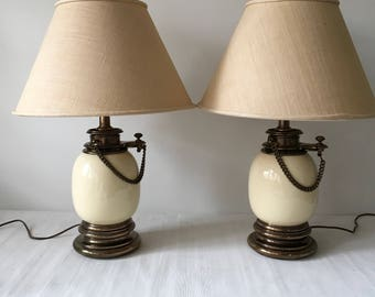 Vintage Stiffel Table Lamps with Decorative Chain Details,  Brass and Porcelain, Pair
