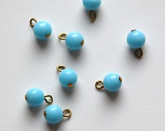 1 Loop Light Blue Smooth Glass Drops Czech Beads 6mm (8) drp089B