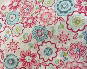 Pink floral fabric cotton fabric UK
