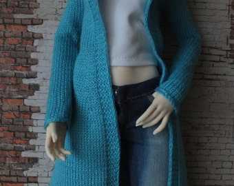 Handmade knitted jacket/cardigan for BJD MSD Tonner doll turquoise blue