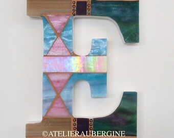 Monogram, Letter E # 14, typography with stained glass mosaic, custom letter, mosaic hanging letter.