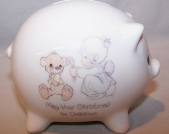 """Precious Moments. Piggy Bank. May Your Christmas Be Delicious. 2 1/2"""" Tall, 3"""" Long. 1985. Excellent Condition."""