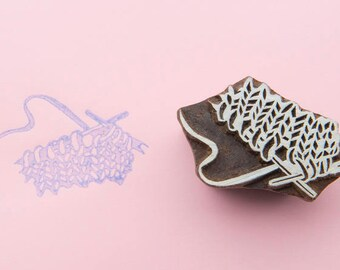 Hand carved Textile Stamp - Knitting Time