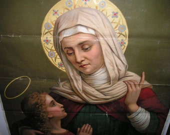 Vintage Beautiful Rendition of St.Anne with Virgin Mary as a Child Very Old German Lithograph Devotional Church Icon