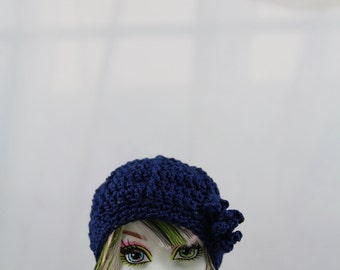 Navy Blue Crochet Hat for Monster doll, MH Dolls