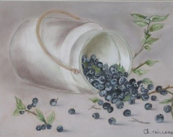 Painting table Blueberry pastel chalk art Nature purple fruit berries