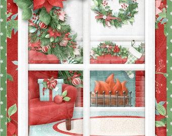 Digital Printable Christmas Card - All Hearts Come Home For Christmas- Fireplace - Christmas Window Theme
