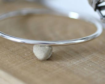 Handmade chunky sterling silver bangle