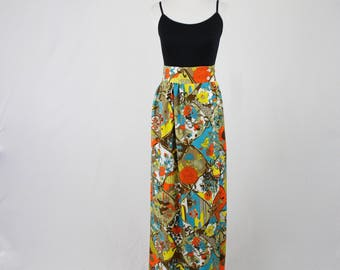 1970s Bows and Flowers Print Maxi Skirt