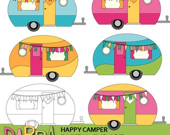 Camping clipart - Cute caravan RV clip art - Happy camper clipart - commercial use graphics - pastel colors - cute clip art
