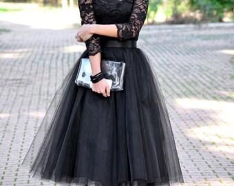 Tea Length Black Tulle Skirt/ Party Skirt/ Wedding Skirt/ Quality Tulle Skirt