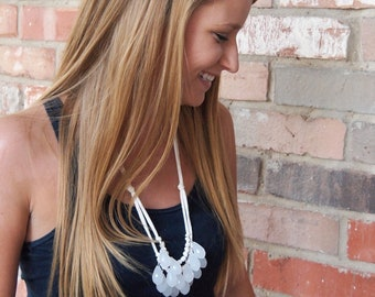 milky opaque white briolette and ivory necklace