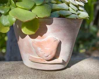Terra Cotta Bird Planter with White Washed Finish