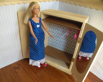 Barbie  Wardrobe with Full Length Doors, Mirror and Hangers
