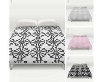 Black and White Duvet Cover . Pink duvet cover . Gray duvet cover . queen duvet cover . king duvet cover . Twin bedding set . Twin XL duvet
