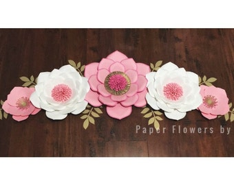 Pink/White/Gold Paper Set of 5