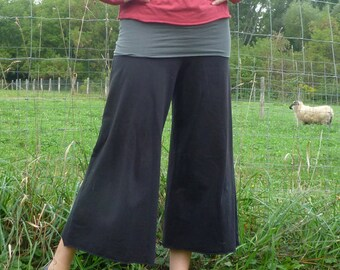 Womens Organic Clothing Wide Leg Gauchos Organic Cotton Bamboo Maternity Pants Yoga Culottes Petal Pants Clam Diggers Dance Pants Workout