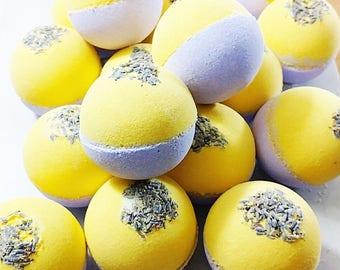 Natural Bath Bomb. Natural skincare. LAVENDER LEMON Bath Bombs. Spa Gift. Gift for her. Lavender Bath Bombs. Aromatherapy. Stocking Stuffer
