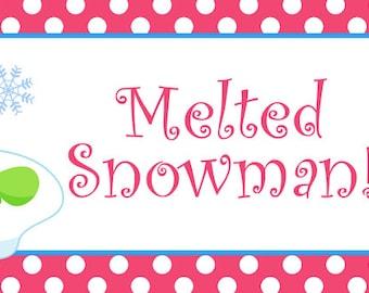 Melted Snowman water bottle label -- waterproof - water bottle label -- snowman Christmas