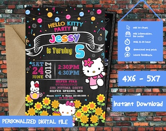 Hello Kitty Invitation,Hello Kitty Party,Hello Kitty Birthday,Hello Kitty Birthday Invitation,Hello Kitty Printable,Hello Kitty Invite-SL194