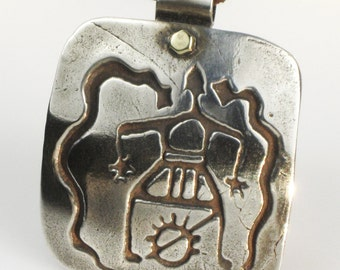 African Witches Hammer Logo Shaman Fine Silver Pendant - Keyring - African Tribal Shaman - Witchcraft Snakes Sun Fertility Ritual Pendant