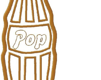 Embroidery Design Applique Soda Pop Bottle