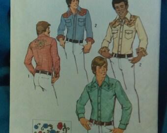 Vintage 1974 70's men's Western cowboy Shirt pattern Simplicity 6693 sz 38 & 40 UNCUT includes embroidery transfer