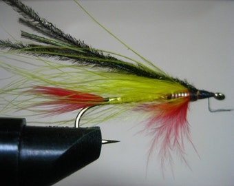 Streamer fly fishing lure, handmade, marabou feathers, trout, bluegill, bass