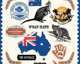 Australia Embellishments. Digital Scrapbooking. Instant Download.