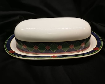 White and Green Ceramic  Butter Dish with Lid - Covered Butter Dish Vintage - Butterdose - PFALTZGRAFF Amalfi Classic  Pat Farrell