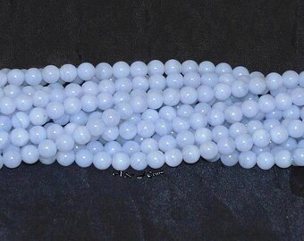 """Blue Lace Agate 6mm Round Gemstone Beads A - 15.75"""" Strand"""