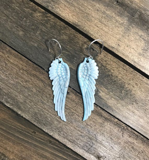 Hand painted light blue/turquoise patina ombre angel wing earrings