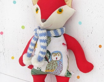 Stuffed toy red Joyful Fox  with owl print and scarf. Soft  winter woodland animal. Baby nursery decor. Red, white, blue toy
