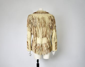 Vintage Beaded Tasseled Fringed Leather Jacket Western Cowboy Native American