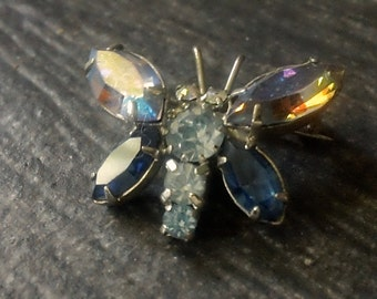 Vintage Butterfly Aurora Borealis AB Brooch, Blue Marquis Gems Pin