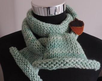 Hand Knit, Merino Wool Scarf